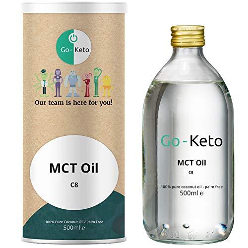 Go-Keto MCT Oil C8, 500ml | Olio Premium MCT C8, 100% olio di cocco, no olio di palma | perfetto per dieta chetogenica | crema di caffè cheto per caffè o frullato cheto | Paleo, vegano, low carb