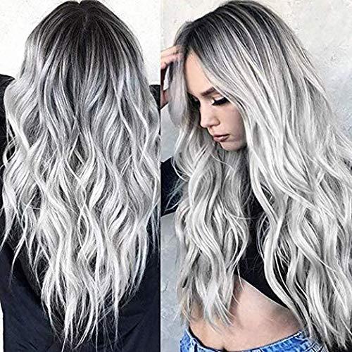 TGYHCJBY - Parrucca da donna color grigio argento sfumato, con radici nere, mossa/riccia, per feste, spettacoli e Halloween (grigio)