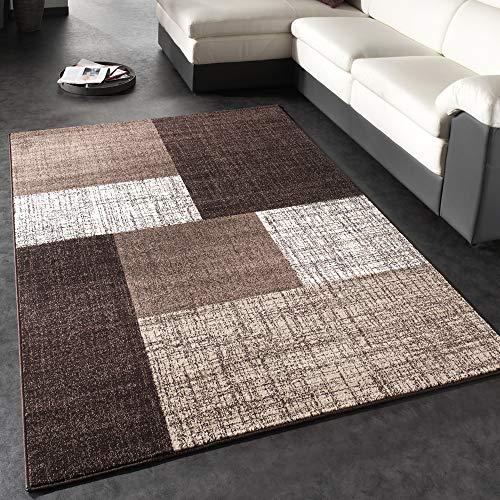 Tappeto di Design Moderno A Quadri Tappeto A Pelo Corto Marrone Crema, Dimensione:140x200 cm